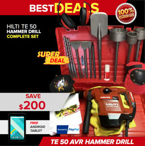 HILTI TE 50 AVR HAMMER DRILL, PREOWNED, FREE TABLET, CORE BITS, FAST SHIP