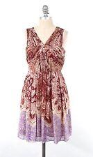 NWT Tibi Boho Paisley Print Gathered Silk Chiffon Fit & Flare Mini Dress 0