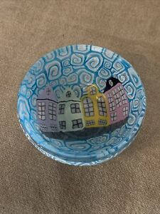 Rainbow Row small bowl fused milefiori hand made glass By Charleston Artist