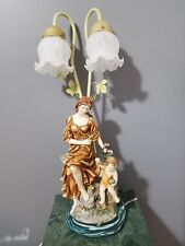 "Art Nouveau Victorian Style 24.5"" Mother and Child Sculpture Table Lamp Resin"