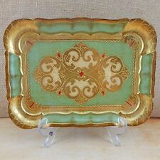 ARAM Florence Firenz Italy Wood Engraved TrayPlatter Hand Painted Gold Green