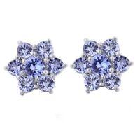 10mm 18K White Gold Over 2Ct Tgw Tanzanite Flower Stud Earrings