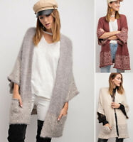 EASEL Soft Plush Knit Cardigan Sweater Open Front Long Sleeve Oversized Gypsy