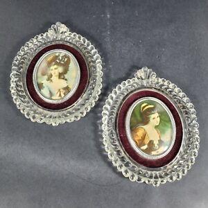 Vintage Cameo Creation Glass Victorian Women Ornate Velvet Framed Wall Portraits