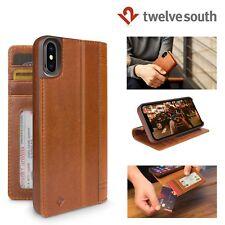 Twelve South Journal Premium Genuine Leather iPhone X Folio Wallet Case Cognac