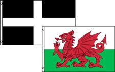 3x5 3'x5' Wholesale Set (2 Pack) UK Wales Welsh Dragon Cornwall Flag Banner