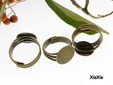 10 Stück Ringrohlinge mit 14mm Klebepad bronzefarben (R356)