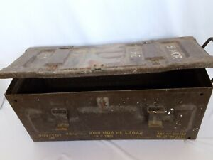 Large Army Brown Ammo Box Tin Container collectable 60cmx26x24 ammunition box