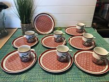7 Sets Georges Briard Lotus Luncheon Snack Set Tea/Coffee cups & Plates