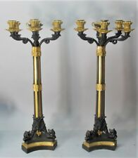 "Stately Pair of 26"" FRENCH GILT BRONZE Candelabra  CHARLES X  c. 1830  antique"