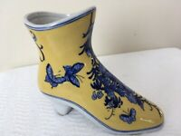VINTAGE Blue & Yellow PORCELAIN ASIAN HIGH HEELED BOOT or SHOE VASE FIGURINE