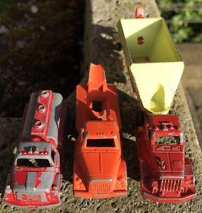 Lot: 3 Vintage TootsieToy Diecast Trucks:Cement Mixer +Gas Tanker +Cab w/Trailer