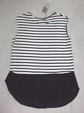 Katies: Size: S.(10-12). Modern Black/White Stripped Soft Knit, Small-Sleeve Top