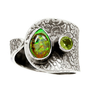Sterling Opal & Peridot 925 Sterling Silver Ring Jewelry s.8 BR91291