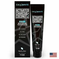 Cali White ACTIVATED CHARCOAL TOOTHPASTE AND ORGANIC COCONUT OIL,VEGAN, MINT 4oz