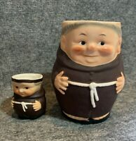 VINTAGE GOEBEL MONK FRIAR TUCK COFFEE CUP MUG STEIN CREAMER SET GERMANY