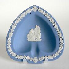 WEDGWOOD BLUE JASPERWARE CORIOLANUS SPADE SHAPE ASHTRAY TRINKET DISH PIN TRAY VG