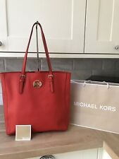 MICHAEL KORS JET SET TRAVEL RED SAFFIANO LEATHER A4 TOTE SHOULDER BAG LARGE