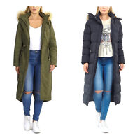 LADIES LONG COAT PADDED WOMENS JACKET FAUX FUR TRIM HOOD THICK WINTER WARM TOP