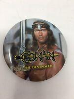 Vtg Conan The Destroyer Schwarzenegger Promo Movie Advertising Pinback Button