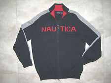 NAUTICA Full Zip Knit Blue Red Gray Logo Men Cardigan Sweater L Large USED