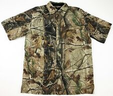 Realtree Walls Hardwood Camo Short Sleeve Front Button Shirt Size M Vented A35