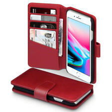 Luxury Real Leather Wallet Case for Apple iPhone 8 / iPhone 7 - Red