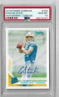 2019 Panini donruss football Easton Stick Canvas Rookie auto 04/10 PSA 10