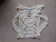NWT Juniors' k/lab Ruffled Top Long Sleeve Size Crewneck Small White/Cream