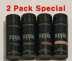Toppik - 2pcs Special - Dark Brown Black & more Hair Loss Building Fibers 27.5G