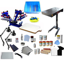4 Color 1 Station Screen Printing Kit with Flash Dryer Exposure Unit Press Tools
