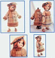 """11""""ANTIQUE FRENCH BLEUETTE/JUMEAU DOLL@1920's DRESS FUR TRIM COAT BERET PATTERN"""