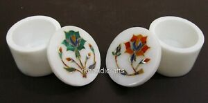 """2.5"""" White Marble Bed side Box Flower Design Inlaid Jewelry BOX Set of 2 Pieces"""