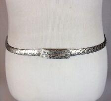 Vintage 80's Women's Small Silver Metallic Fish Scale Belt Size Medium New Wave