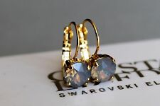 Gold Plated Light Grey Opal Leverback Earrings with Swarovski Crystal Element