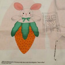 """Cranston cotton Easter fabric panel BUNNY Carrot greeter wall hanging 19"""""""