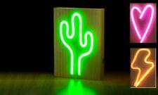 NEW Neons Light Sign on Wooden Base CACTUS 25cm Green Retro Lighting Home Decor