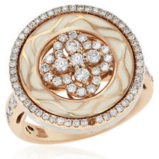 18K Rose Gold Pave Diamond Circle Enamel Swirl Right Hand Cocktail Ring