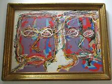 LARGE GOLD ANTIQUE FRAME WITH MODERNIST PORTRAIT ABSTRACT POP EXPRESSIONISM BIG