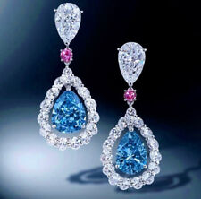 9Ct Pear Blue Sapphire Ruby Simlnt Diamond Dangle Earrings Silver White Gold Fns