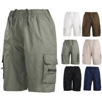 Men Casual Beach Elastic Waist Drawstring Shorts Cargo Solid Combat Pants Pocket