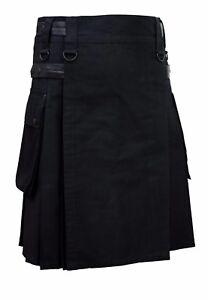 Men Black Leather Straps Fashion Sport Utility Kilt Deluxe Kilt Adjustable Sizes