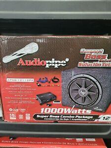 "AUDIOPIPE CAR PACKAGE DEAL 12"" SUBWOOFER ENCLOSURE + MICRO AMPLIFIER + AMP KIT"
