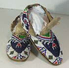 ca1900 PAIR NATIVE AMERICAN SIOUX INDIAN BEAD DECORATED BUFFALO HIDE MOCCASINS