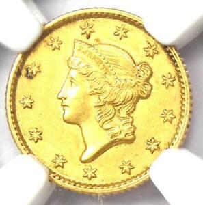1853 Liberty Gold Dollar Coin G$1 - Certified NGC MS61 (BU UNC) - Rare Coin!