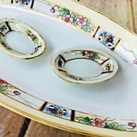Vtg Floral Dining Plate /w Small Matching Saucer Gold Trim Nippon 3 Dishes EUC