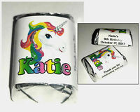 60 RAINBOW UNICORN BIRTHDAY PARTY FAVORS CANDY WRAPPERS LABELS FAVORS