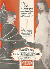 Lionel Barrymore Irene Howley 1917 Ad- His Father's Son Metro