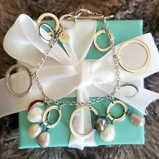 Tiffany & Co Sterling Silver Pearl Drop Multi Circles Charm Bracelet Iridesse