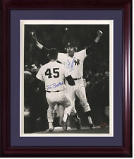Jim Beattie Jim Spencer Yankees signed 11x14 final out 1977 WS framed 2 auto COA